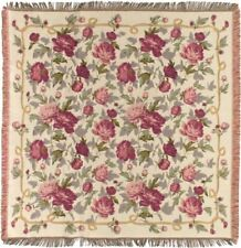 """NEW 60""""  """"LAURA"""" ROSES BELGIAN TAPESTRY TABLE CHAIR THROW BED SPREAD 792"""