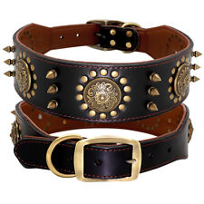 Luxury Genuine Leather Studded Dog Collars for Medium Large Breed Boxer Doberman