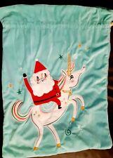 Santa And Unicorn Turquoise Santa Sack/Stocking
