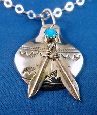 """VTG Navajo Pottery & Feathers Sterling Silver PENDANT Turquoise w 20"""" .925 chain"""
