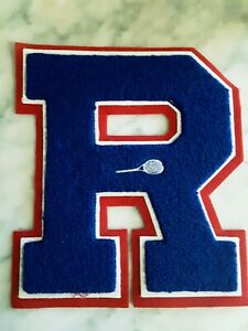 "Vintage HS Varsity Letter ""R"" Letterman Jacket Patch with Embroidered Racket"