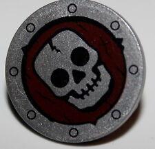 Lego Castle Round Skeleton Shield Dark Red w/ Skull Pattern NEW