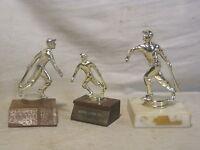 3 x  vintage metal trophy trophies baseball sports w/ wood base & stone? rural