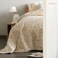 IBENA Plush Natural Paisley Full/ Queen Woven Cotton Blend Bed Blanket Bordeaux