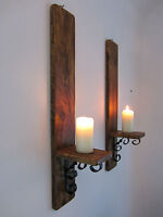 PAIR OF LARGE TALL 60CM RECYCLED PALLET WOOD & WROUGHT IRON CANDLE WALL SCONCE'S