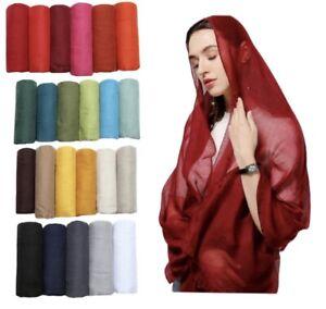 New Plain Maxi Cotton Viscose Scarf Hijab Head Wrap  For Women Girls 40 colors