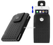 iPhone 7, 8, X, 6s Leather Case Cover Pouch Vertical Holster + Swivel Belt-Clip