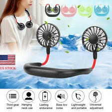 Rechargeable Portable USB Sports Neckband Fan Lazy Neck Hanging Dual Cooling Fan