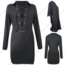 Women Plaid Shirt Dress Classic Mini Lace Up Long Sleeve Dresses Clubwear