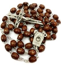 Our Lady of Lourdes Wooden Rosary + Water Relic & Gift Box-Rosario Agua Lourdes