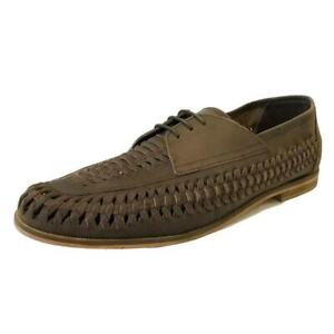 RRP £65 Mens Brixton Leather Slip On Loafers Boat Summer Woven Smart Shoes Brown