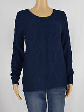 Hippie Rose Womens Blue Cable Knit Sweater Pullover Size S
