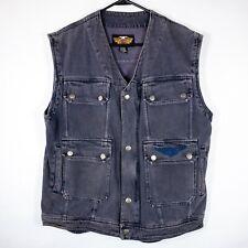 Harley Davidson Denim Vest Embroidered Mens Size Medium M Motorcycle 6 Pockets!