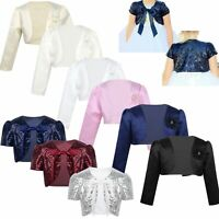 Girls Sequins Bolero Short/long Sleeves Short Jacket Shrug Pageant Party Costume
