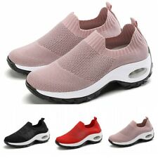 41 42 Womens Sport Sneakers Breathable Mesh Walking Slip-On Running Shoes Soft D
