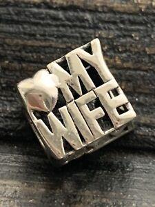 925 Silver European Bracelet Charm -  Love my Wife       #5/2