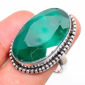 Skota Emerald Gemstone Handmade 925 Sterling Silver Jewelry Ring Size 7.5 Z089