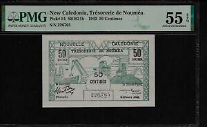 New Caledonia 50 Centimes 1943 PMG 55 EPQ  Pick # 54