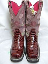 Ariat Womens Cowboy Boots   Size 8 B  Style 16263 Burgundy Faux Reptile   #48 HS