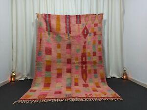 "Handmade Vintage Boujad Moroccan Rug 5'2""x 7'7"" Feet Berber Wool Area Pink Rug"