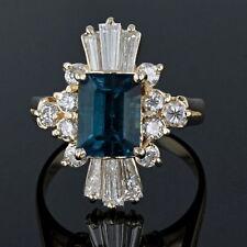 STUNNING 14K RARE INDICOLITE TOURMALINE AND DIAMOND RING 1.5 CARAT OF DIAMONDS