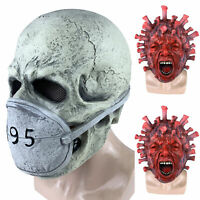 Latex Full Face Mask Creepy Scary Face Horror Halloween Costume Party Cosplay US