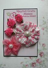 HANDMADE 5 Flower Mix DARK PINK Satin Lace Organza 25, 55 & 70mm NjoyfullCrafts