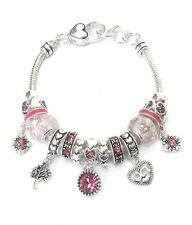 BIRTHSTONE OCTOBER Euro-Style Lampwork Beads Pink Rhinestone Charm Bracelet