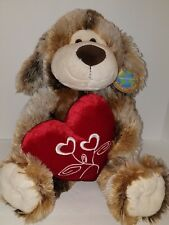 Puppy Dog Plush Red Velvet Heart Greenimal Collectable Stuffed Toy NEW 14""