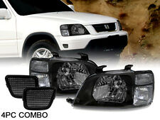 COMBO 97-01 Honda CRV CR-V JDM Black Headlights + Smoke Bumper Side Reflectors