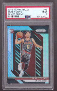 2018/19 Panini Prizm TRAE YOUNG Silver Prizm Refractor Rookie Hawks Mint PSA 9