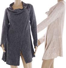 Lange Markenlose Damen-Pullover & -Strickware mit Wasserfall-Ausschnitt