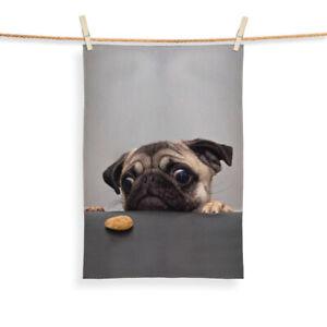 Pug With Biscuit Design - Tea Towel