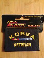 Korea (war) Veteran Nylon Tri-fold Wallet. Black-Embroidered