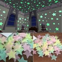 100pc 3D Stars Glow In The Dark Luminous Fluorescent Wall Stickers Home Decor