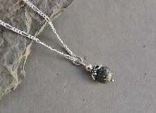 "Preseli Bluestone Stonehenge Inner Circle Stone Bead Pendant Sterling Silver 18"""