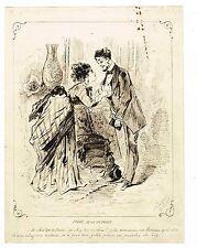 LA VIE PARISIENNE EN 1877 / DESSIN ORIGINAL A LA PLUME
