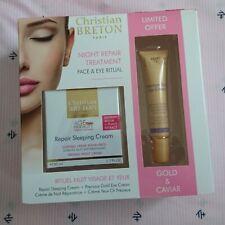CHRISTIAN BRETON Repair Sleeping Cream & Precious Gold Eye Cream 2 Pc Set NEW