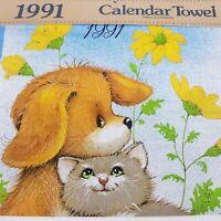 Vintage 1991 Calendar Towel Kitchen Dish Tea Cat Dog NOS