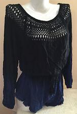 $89 NWT VICTORIAS SECRET Crochet Tassel Romper Swim Cover-Up OnePiece M N810