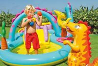 Dinoland Play Center Paddling Pool Inflatable Kids Swimming Pool Water Slide