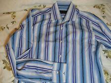 Etro Milano blue / green striped cotton dress shirt 15 1/2 / 39 Fresh condition!
