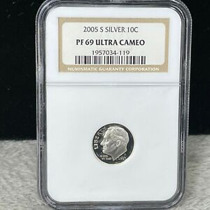 2005-S SILVER PROOF ROOSEVELT DIME NGC PF 69 ULTRA CAMEO (119)