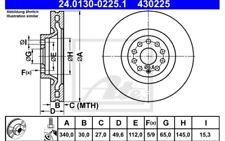 ATE Juego de 2 discos freno Antes 340mm ventilado Para SEAT LEON 24.0130-0225.1