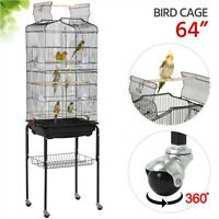 64'' Play Open Top Small Parrot Cockatiel Conure Parakeet Bird Cage with Stand