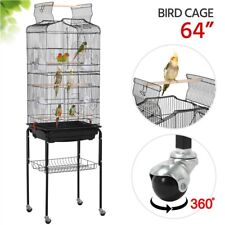 64' Open Top Small Parrot Cockatiel Conure Parakeet Bird Cage with Stand
