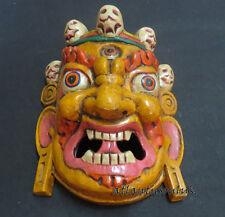 M210 Protector de mano artesanal MAHAKALA Bhairav regalo Máscara de madera colgante de pared Nepal