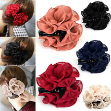 Charmful Women Chiffon Big Rose Flower Bow Jaw Clip Barrette Hair Claw Hair Clip