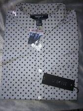 Forever 21 Men Slim Fit Woven Short Sleeve Shirt Gray & Navy Print Small S NWT