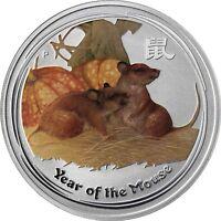 Australien 1 Dollar 2008 Jahr der Maus Lunar II Silbermünze in Farbe